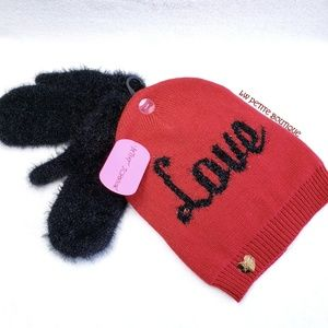 Betsey Johnson Beanie and Mittens Set
